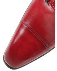 Santoni Red Crocodile & Leather Monk Strap Shoes for men