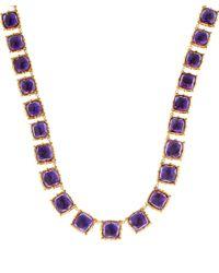 Larkspur & Hawk Long Blue Gold-wash Amethyst Bella Riviere Necklace