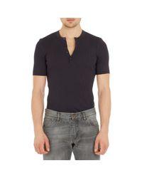 Dolce & Gabbana - Black Short-sleeve Henley for Men - Lyst