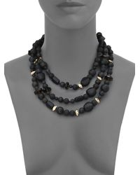 Alexis Bittar | Miss Havisham Liquid Black Onyx, Smoky Quartz, Lava Rock & Crystal Three-Strand Necklace | Lyst