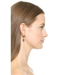 Rebecca Minkoff | Metallic Pyramid Front Back Post Earrings - Silver/Gold | Lyst