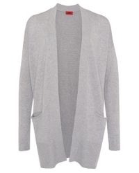HUGO | Gray Cardigan In A Wool Blend With Cashmere: 'shanay' | Lyst
