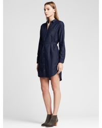 b936ac30744 Banana Republic Chambray Shirtdress in Blue - Lyst