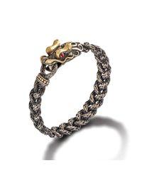 John Hardy - Metallic Dragon Head Bracelet On Small Braided Chain With Oxidation for Men - Lyst