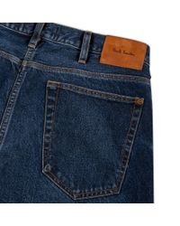 Paul Smith - Blue Men's Tapered-fit Mid-wash Jeans for Men - Lyst