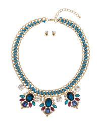 Mikey | Blue Fillagary Crystal Pendant Rope Necklace | Lyst