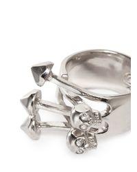 Alexander McQueen Metallic Twin Skull Stud Ring