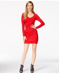 Guess Red Ruched Cutout Bodycon Dress