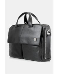Knomo | Black 'warwick' Double Compartment Leather Briefcase for Men | Lyst