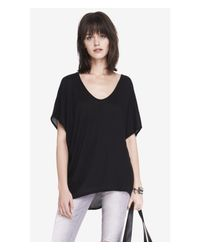 Express | Black Mixed Fabric Wedge Tee | Lyst