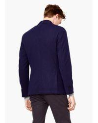 Mango - Blue Textured Unstructured Blazer for Men - Lyst