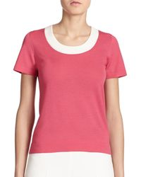 Akris Punto | Pink Contrast Wool Sweater | Lyst