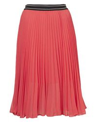 TOPSHOP Pink Petite Sporty Waist Pleated Midi Skirt