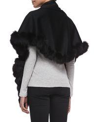 Sofia Cashmere - Black Whip-stitch Fox Fur Shawl - Lyst