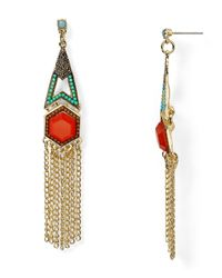 Aqua | Metallic Kelly Fringe Chandelier Earrings | Lyst