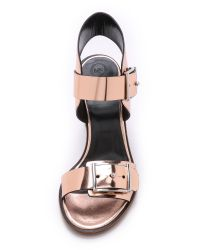 McQ Pink Crush Heel 2 Strap Sandals - Rose Gold