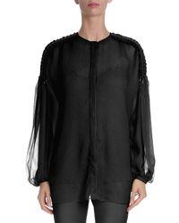 Givenchy - Black Tie-shoulder Bishop-sleeve Plisse Top - Lyst