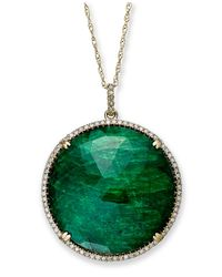 Macy's - 14k Gold Necklace, Dyed Green Corundum Sapphire (22-1/2 Ct. T.w.) And Diamond (1/3 Ct. T.w) Circle Pendant - Lyst