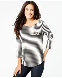 Vince Camuto - White Striped Bead-embellished Top - Lyst