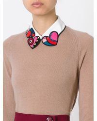 RED Valentino - White Embroidered Heart Collar - Lyst