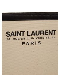 Saint Laurent Natural Logo-print Canvas And Leather Pouch