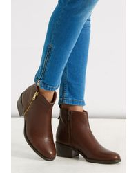 Oasis Brown Zip Side Ankle Boots