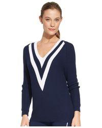 Lauren by Ralph Lauren | Blue V-Neck Cricket Sweater | Lyst