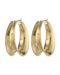 Lauren by Ralph Lauren | Metallic Silver Lining 26Mm Concave Clickit Hoop Earrings | Lyst