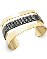 INC International Concepts | Metallic Gold-tone Hematite Stone Cuff Bracelet | Lyst