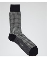 Reiss | Blue Brenta Houndstooth Check Socks for Men | Lyst
