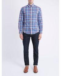 Ben Sherman Blue Madras Check Long Sleeve Shirt for men