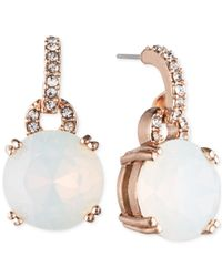 Anne Klein | Rose Gold-tone White Crystal Round Drop Earrings | Lyst