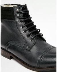 ASOS - Blue Boots In Leather With Borg Lining And Toe Cap for Men - Lyst