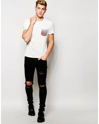 Jack & Jones - White Longline T-shirt With Contrast Printed Pocket for Men - Lyst