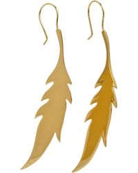 Jennifer Fisher - Yellow Gold Large Feather Earrings - Lyst