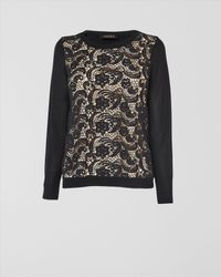 Jaeger Black Lace Front Sweater