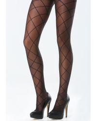 Bebe | Black Diamond Detail Pantyhose | Lyst