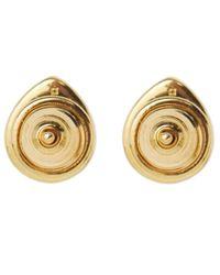 Monica Vinader - Green Gold Vermeil Diamond And Aventurine Naida Lotus Stud Earrings - Lyst