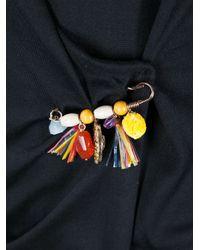 Dolce & Gabbana Black Wrap Cardigan with Brooch