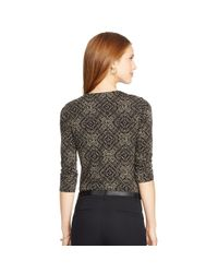 Ralph Lauren - Black Geometric-print Jersey Tee - Lyst
