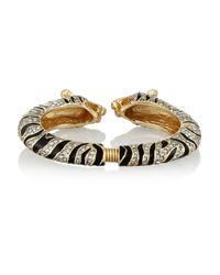 Kenneth Jay Lane Metallic Goldtone Crystal and Enamel Tiger Bracelet