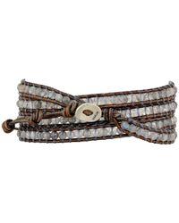 Chan Luu - Gray 32' Abalone/kansa Semi Precious Stone Wrap Bracelet - Lyst