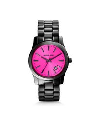 Michael Kors | Pink Runway Fuschia And Onyx Watch | Lyst