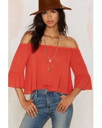Glamorous | Red Out Of Range Off The Shoulder Top | Lyst
