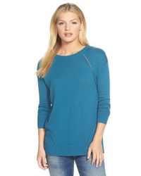Caslon | Blue Pointelle Detail Button Back Tunic Sweater | Lyst
