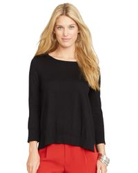 Lauren by Ralph Lauren | Black Mixed Media Sweater | Lyst