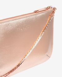 Ted Baker | Pink Colour Block Leather Clutch Bag | Lyst