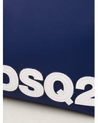 DSquared² Blue Logo Print Wash Bag