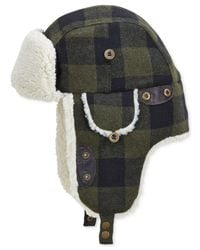 Woolrich | Green Buffalo Check Aviator Hat With Fleece Lining for Men | Lyst