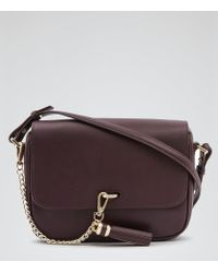 Reiss - Purple Laguna Chain Tassel Leather Bag - Lyst